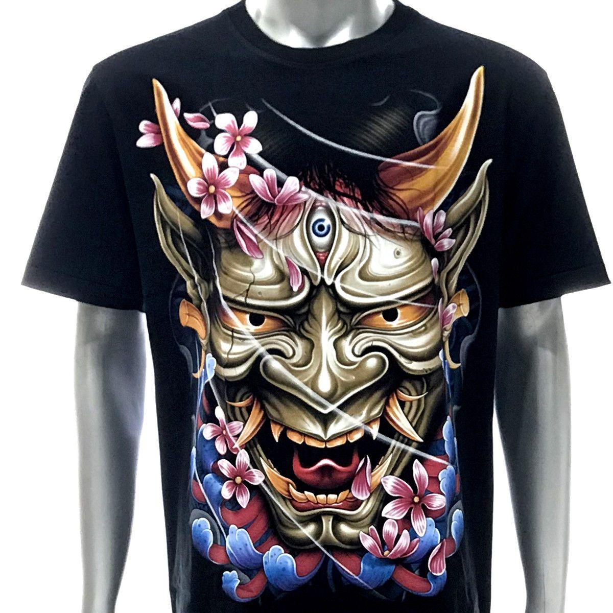 0eb5f53462d2b r230 Rock Eagle T-shirt Tattoo GLOW in DARK Japanese Demon Sakura Hannya  Mask Men Women Unisex Fashion tshirt Free Shipping black