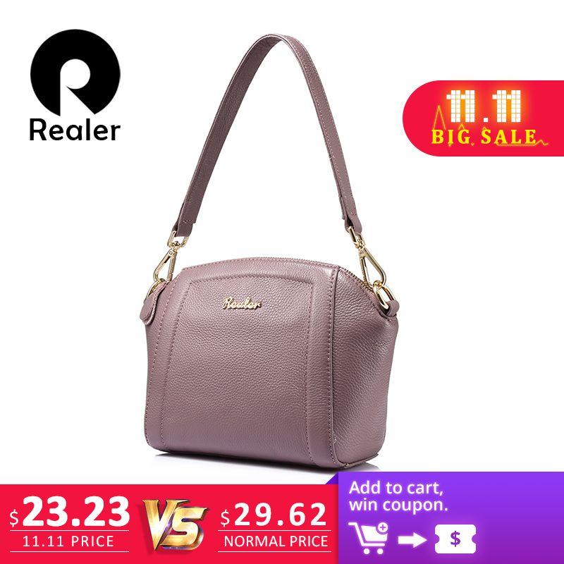 2019 Fashion REALER Messenger Bags for Women Small Handbag Genuine ... 7bcab34120aeb