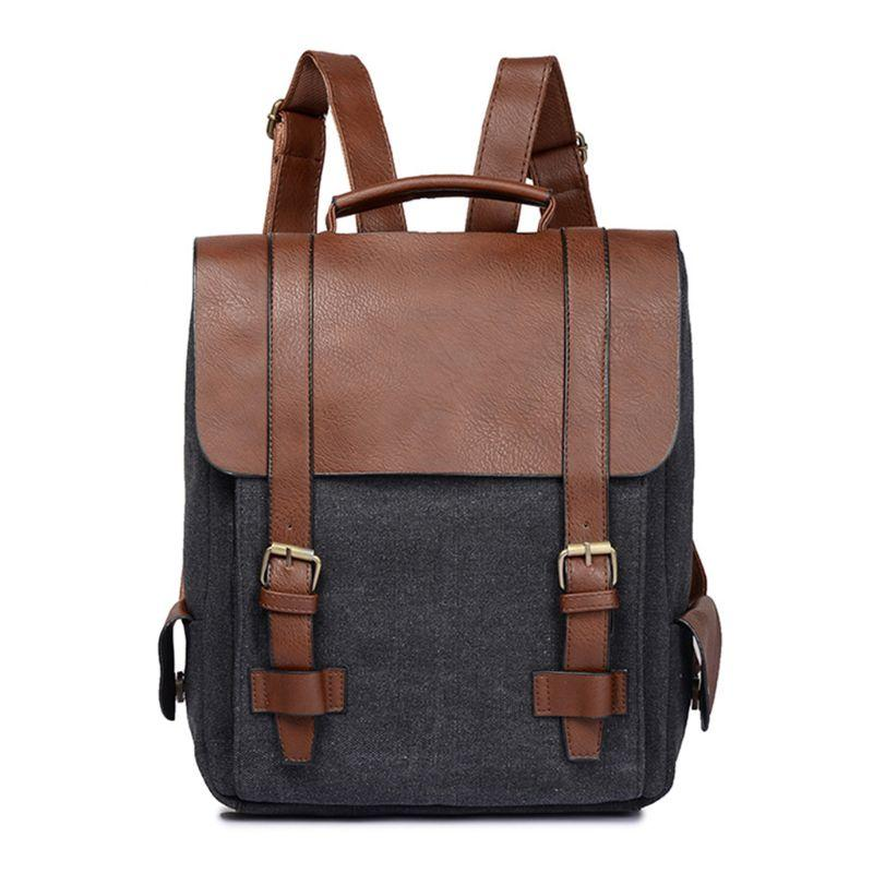 90ec72355bb0 Men Women Vintage Backpack Canvas PU Leather Panel Schoolbag Anti-theft  Casual Daypack 2018 Fashion Backpack for Teenage