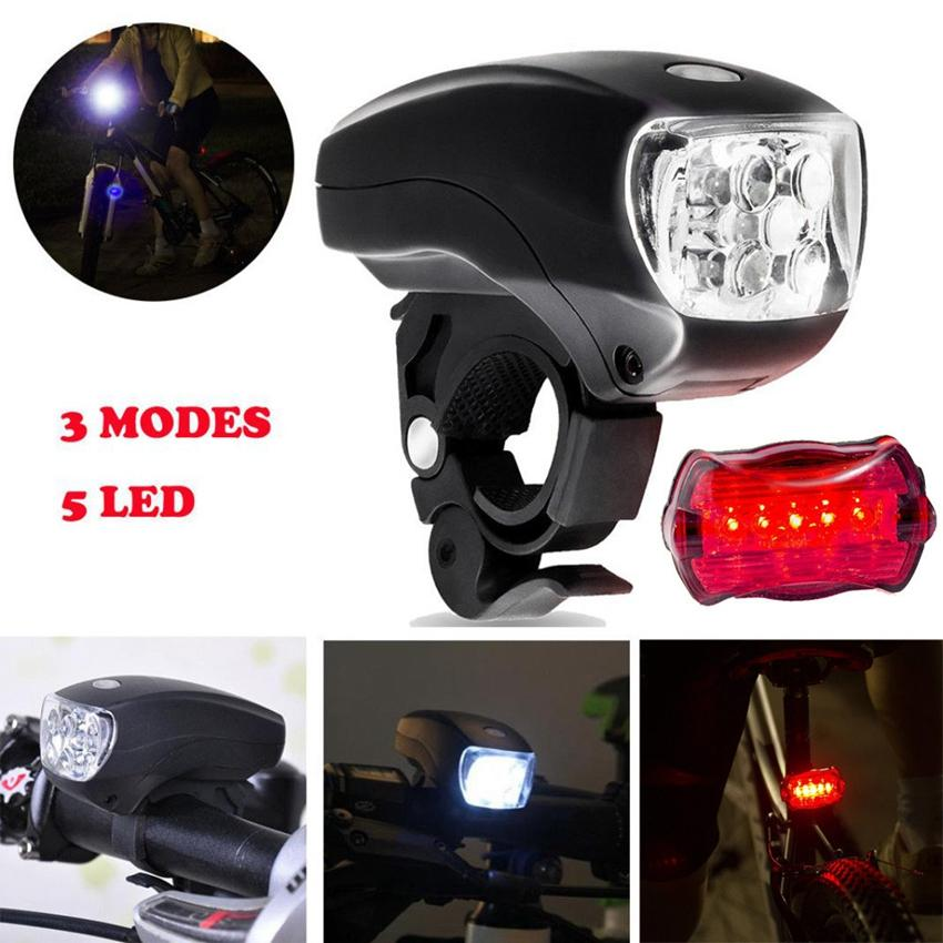 Bike Bicycle 5LED Front Light Torch Headlight Safety Light Lamp 3-Modes  Waterproof Flashlight Bicycle Light LJJZ39