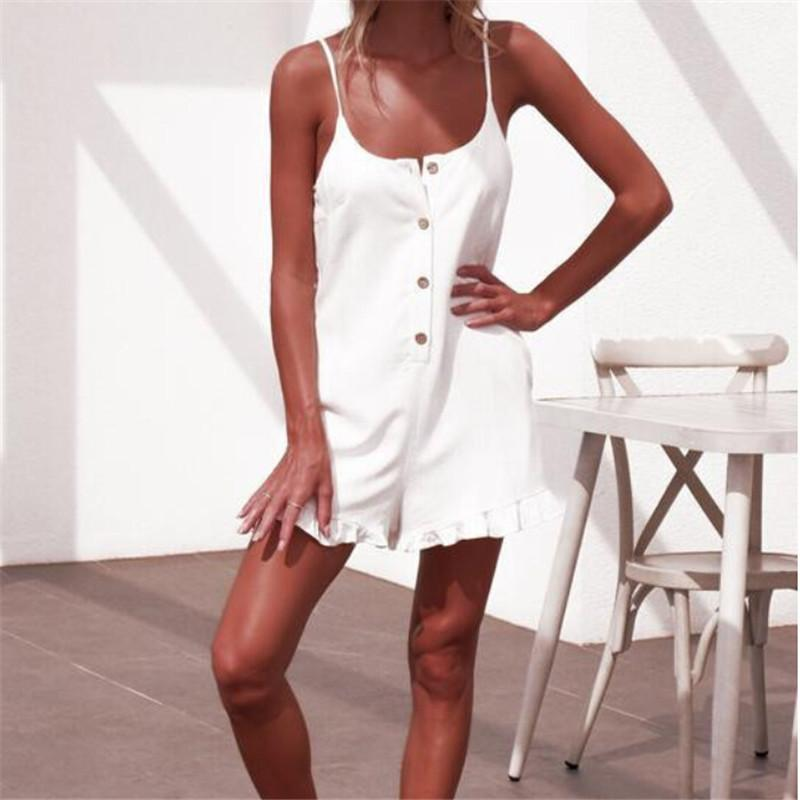 Sexy Women Solid White Playsuit 2019 New Sleeveless Sling Jumpsuit Romper  Summer Beach Style Ruffles Casual Mini Jumpsuit Shorts