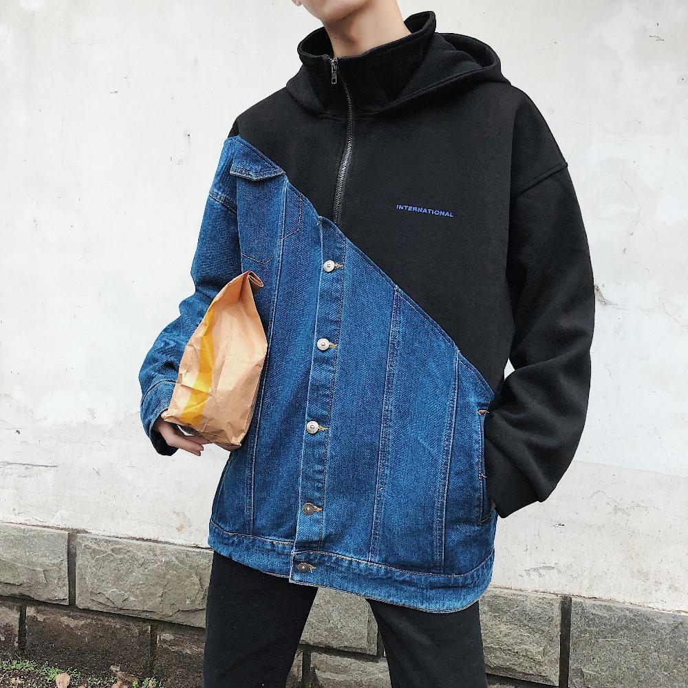 best loved e123f 372e9 Giubbotto Fashion Jean con cappuccio uomo Patchwork Nero e blu Khaki  Cappotti larghi 2019 Primavera Autunno