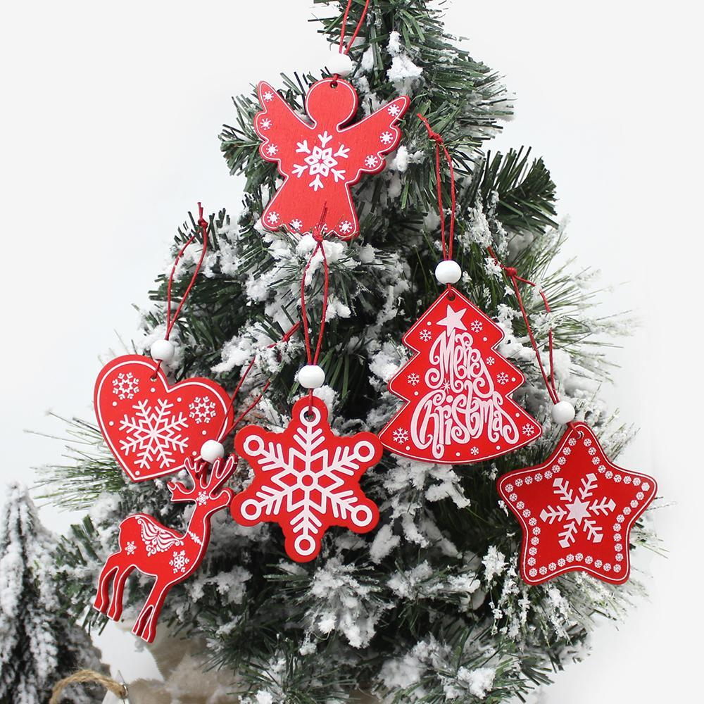 6Pcs Creative Printing Wooden Christmas Pendants Ornaments for Xmas Tree Hanging Ornament Party Christmas Home Decoration
