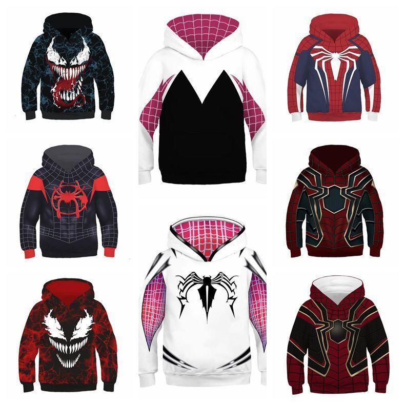 e4dc6c01 2019 10 Styles Spider Man Into The Spider Verse Hoodies Children Spiderman  Venom Long Sleeves 3D Hoodies Home Clothing CCA11067 From  Liangjingjing_kitche, ...