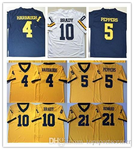 super popular 3aa54 ddcbf Michigan Wolverines 2 Charles Woodson 3 Rashan Gary 5 Jabrill Peppers 4 Jim  Harbaugh 10 Tom Brady 21 Desmond Howard college Football Jersey