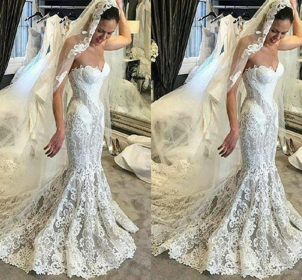 Mermaid Style Lace Wedding Gowns: Glamorous Lace Mermaid Wedding Dresses Strapless Open Back