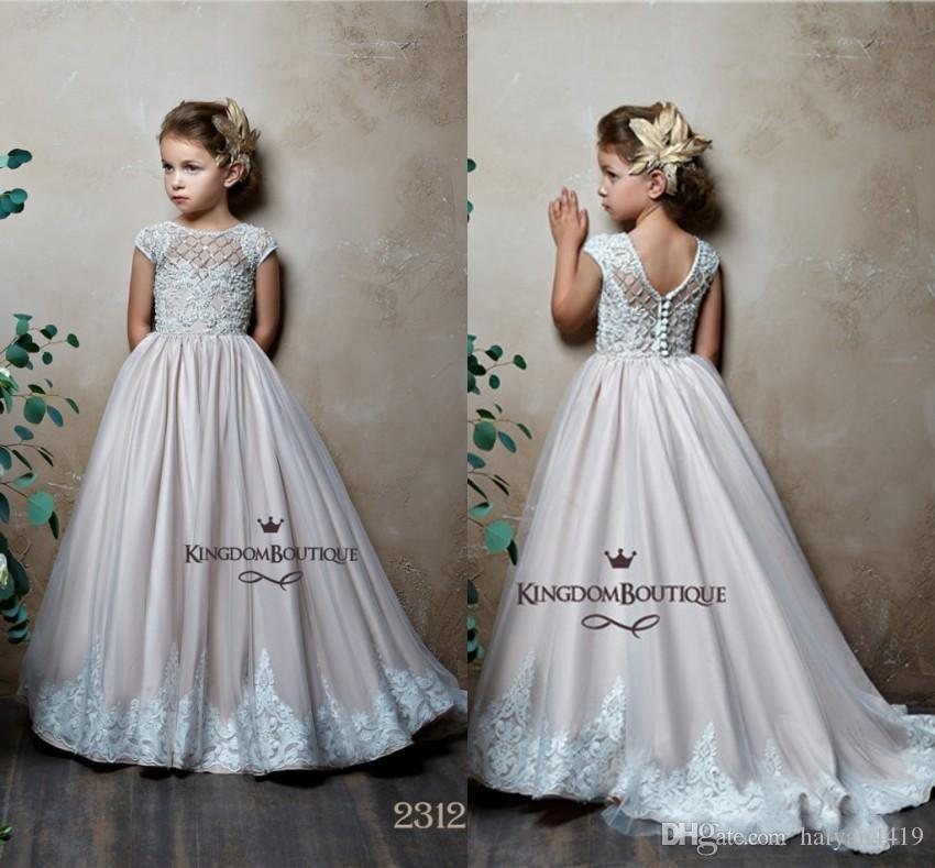 3bb104d023c 2019 Cute A Line Flower Girls Dresses For Weddings Jewel Neck Short Cap  Sleeves Satin Lace Appliques Kids Birthday Girls Pageant Gowns Ivory Tulle  Flower ...