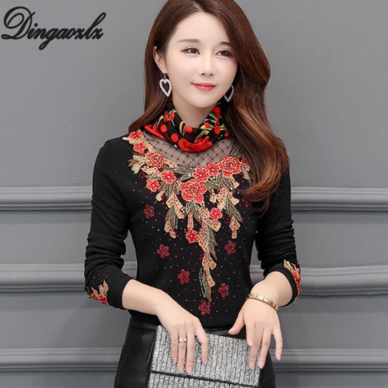 fa3ba359f4a18 2019 Dingaozlz Female Autumn Winter Embroidery Women Blouse Long Sleeve  Plus Velvet Warm Shirt Patchwork Lace Thick Tops Plus Size From Elizabethy