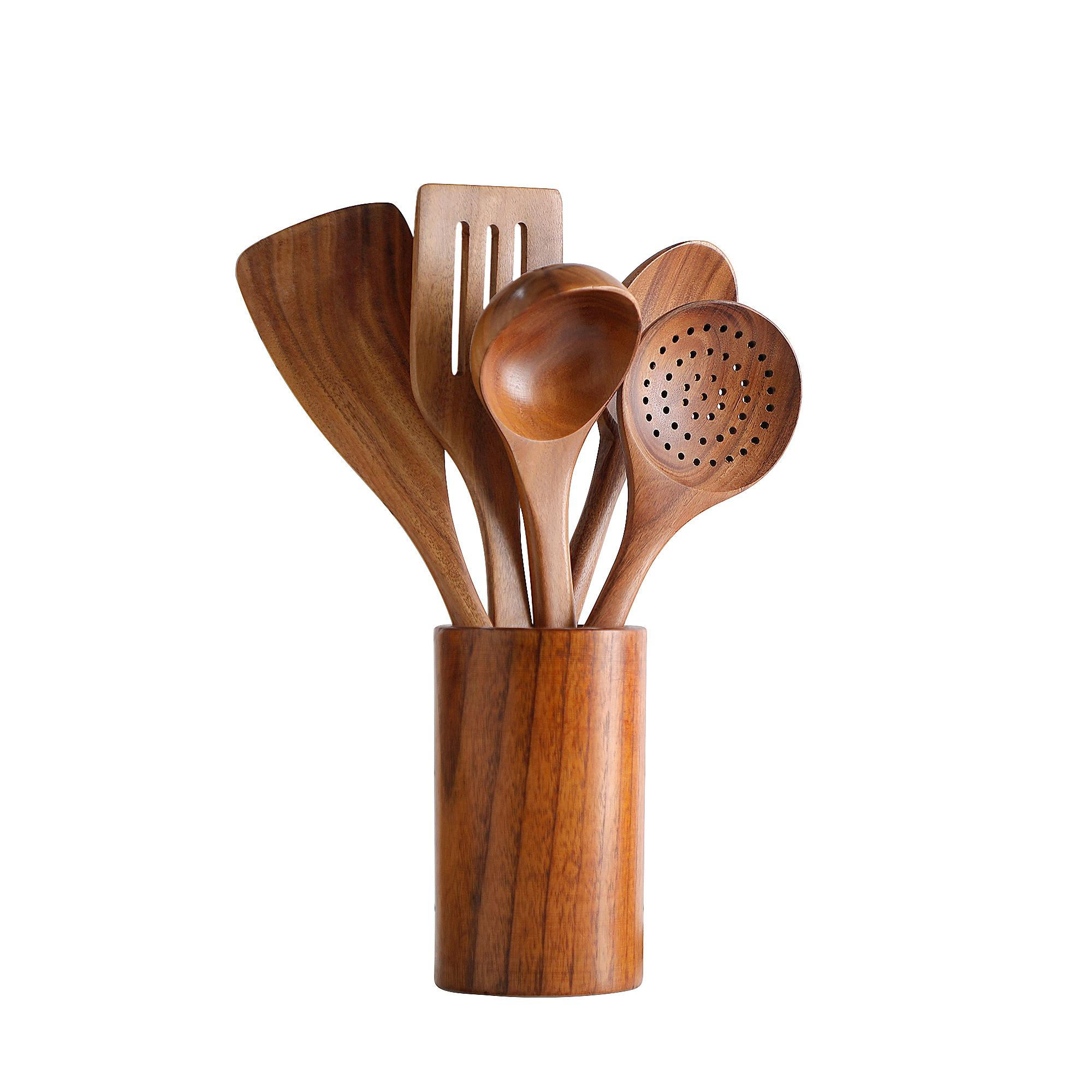 Wooden Cooking Utensils Set, Natural Teak Wood Eco-friendly Kitchen Spoons Spatula Utensil Tools for Nonstick Cookware