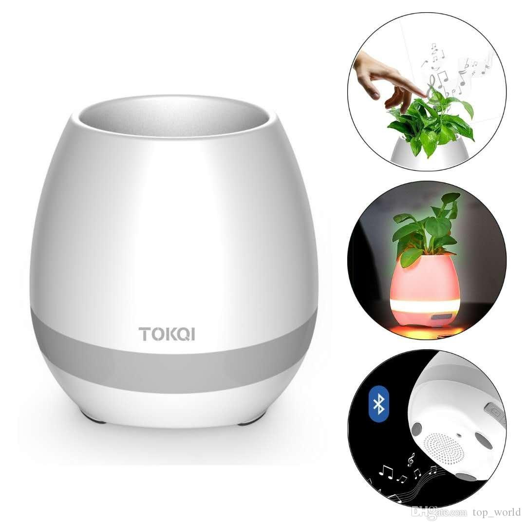 Musical Flowerpot Bluetooth Speakers Light Breathing Musical Smart Pots Play Touching Plants Rechargeable Outdoor Office Home