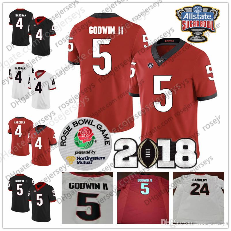 NCAA Georgia Bulldogs  5 Terry Godwin II 6 James Cook III Javon Wims 8  Riley Ridley Champions Sugar Bowl Red Black White Jerseys UK 2019 From  Rosejerseys 0c70c7311