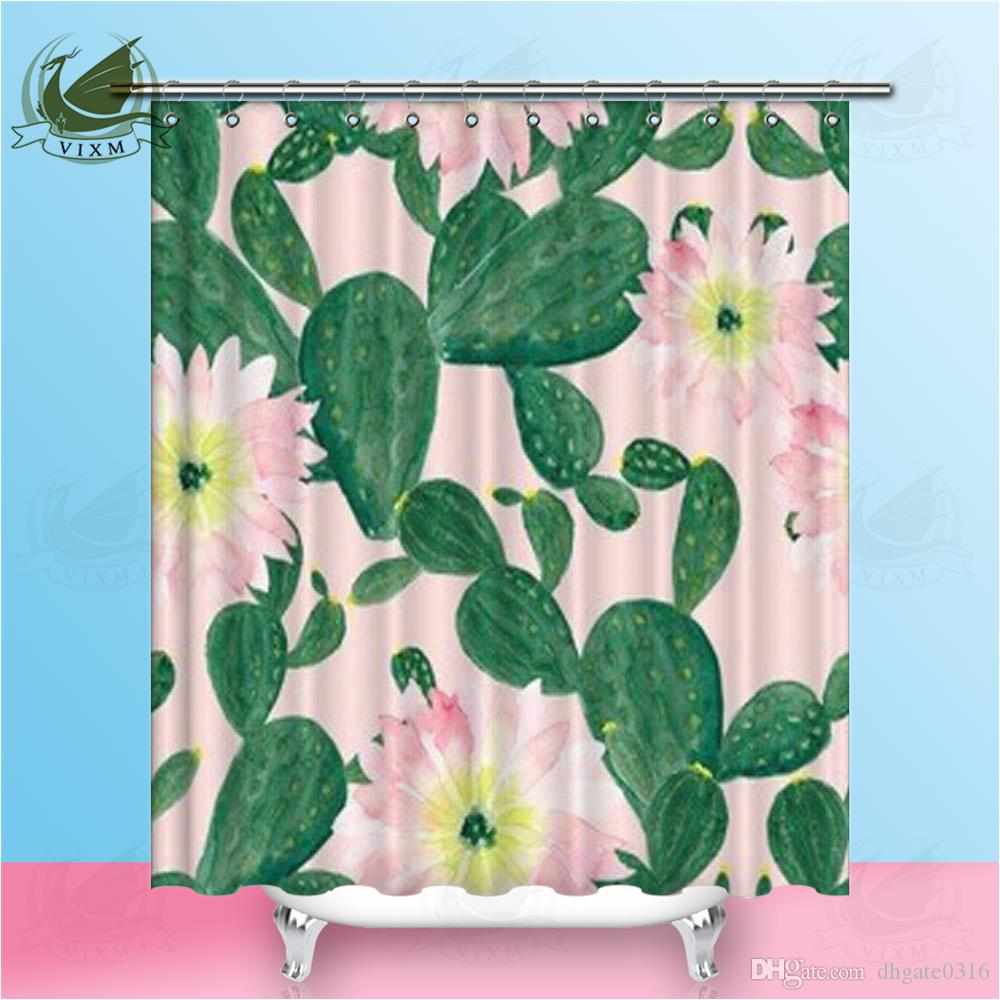 Vixm Hand Painted Watercolor Cactus Flower On Pink Background Shower Curtains Waterproof Polyester Fabric Curtains For Home Decor