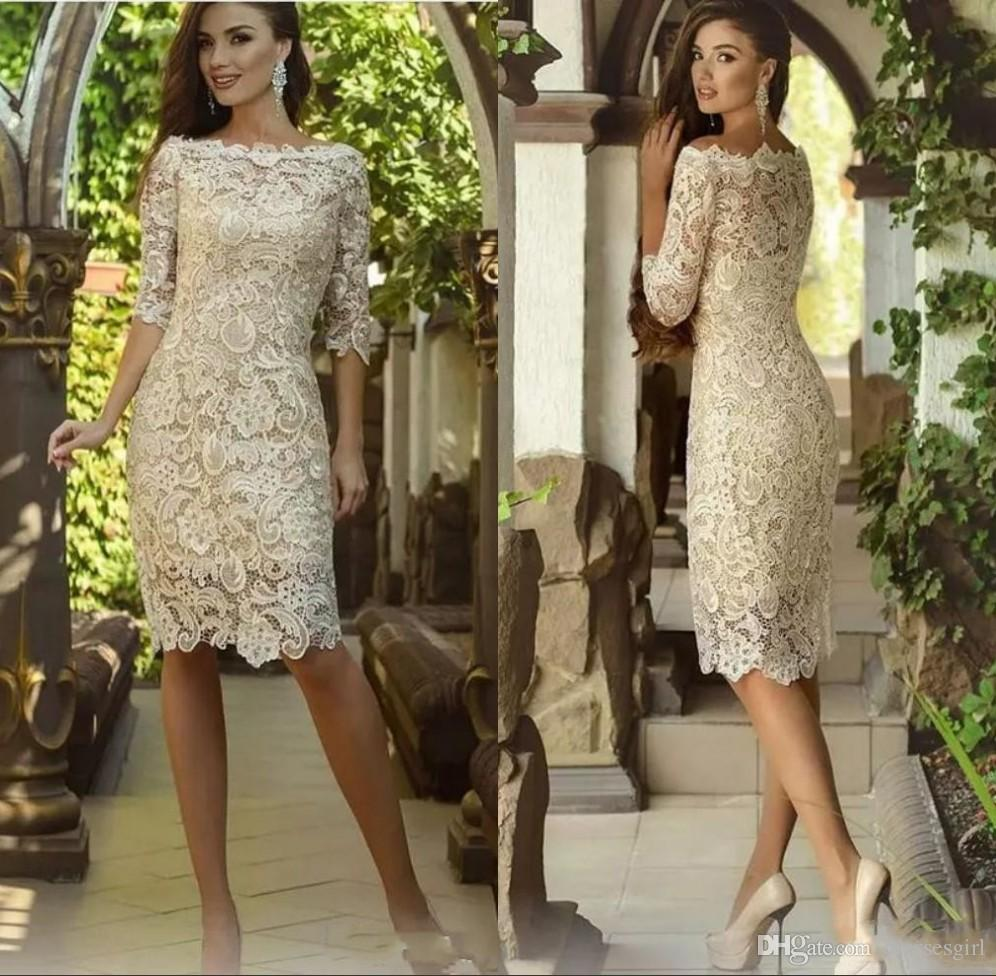 Wedding Guest Dresses Canada.Elegant All Over Lace Mother Of The Bride Dresses Half Sleeve Wedding Guest Gown Custom Made Mother Dress