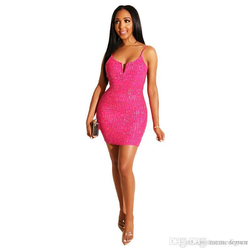 97db042e7975 Glitter Sequined Sexy Party Club Dress Women Spaghetti Strap Sleeveless  Bandage Mini Dress Summer V Neck Open Back Sheath Dress NB 1399 Summer Dress  Women ...