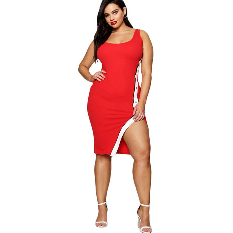 c4b4a24866b Sexy Women Plus Size Dress XXXL 4XL 5XL Sleeveless Stripe Side Bandage  Bodycon Party Dresses Casual Split Summer Sundress 2018 Formal Gown Prom  Dress ...