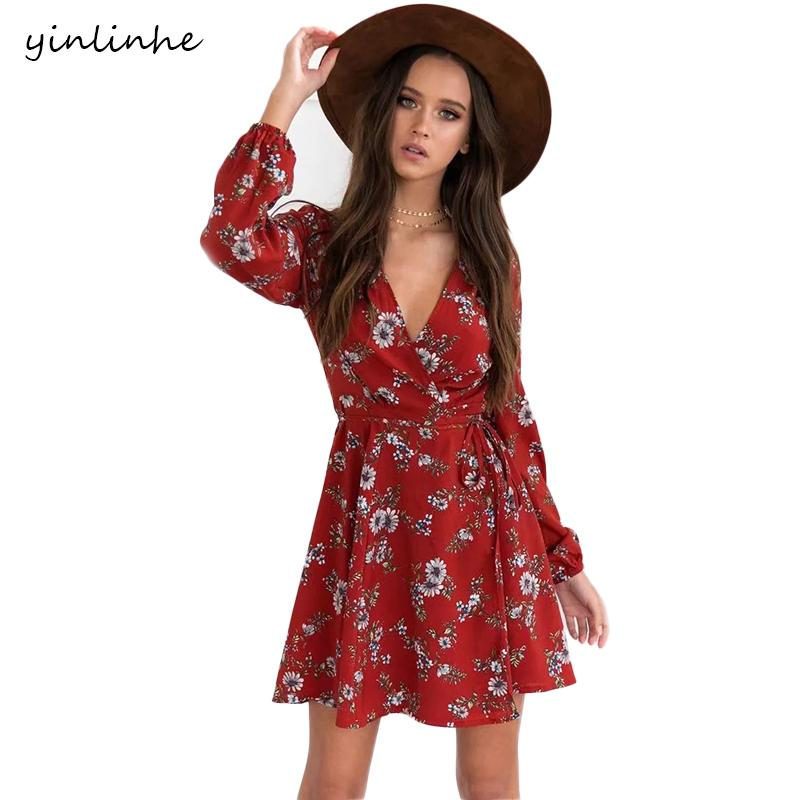 a2e977e7a3a0f 2019 Yinlinhe Cross V Neck Beach Dresses Summer Red Floral Wrap Dress Women  Long Sleeve Sash Sexy Mini Elegant Boho Style 067 C19042301 From Shen07, ...