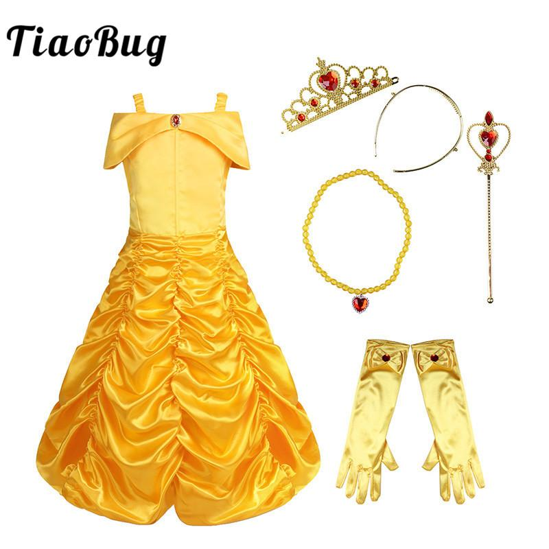 66c29a67eb2 TiaoBug Kids Girls Off Shoulder Ruched Fairy Tale Halloween Costume Cosplay  Party Fancy Dress Gloves Tiara Wand Princess Set Girls Costumes Cheap Girls  ...