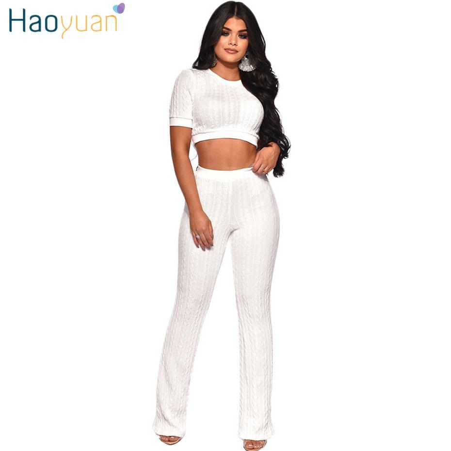 68d2cbbf3b HAOYUAN Two Piece Set Tracksuit Women Clothes Kintted Crop Top Snd ...