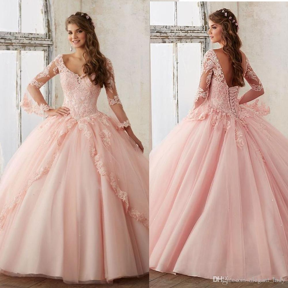 New Quinceanera Pageant Ball Gown Long sleeve dress Prom Party dresses blush Pink Tulle Applique lace Sexy sweety 16 Dresses