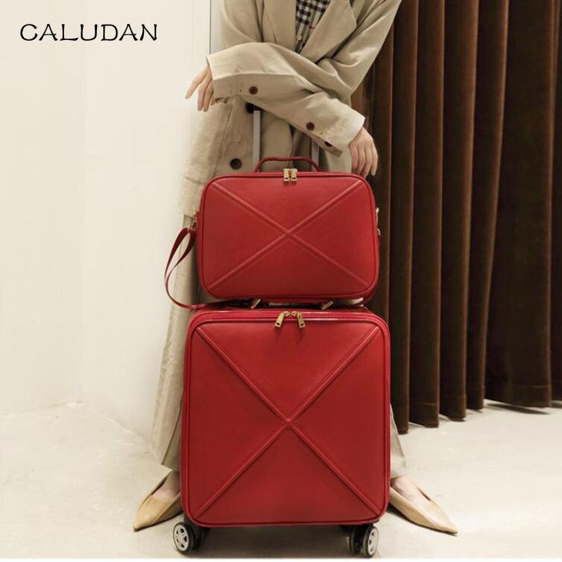 dd1a651c53 CALUDAN Men Leather Suitcase 18 20 24inch Boarding Carry On Travel Luggage  Set Laptop Suitcase Kid Suitcases From Edmsaiko