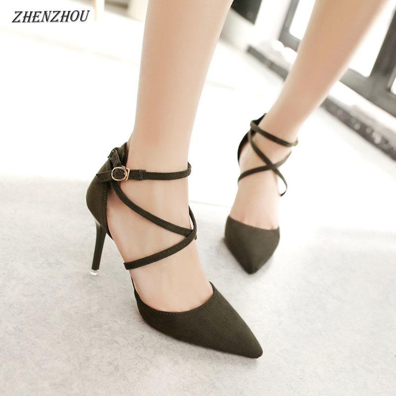 724f721a5 2019 Pumps 2018 Summer New Women S Shoes Pointed Solid Color High Heeled Cross  Belt Sandals Sexy Thin With Single Shoes Summer Shoes Womens Loafers From  ...