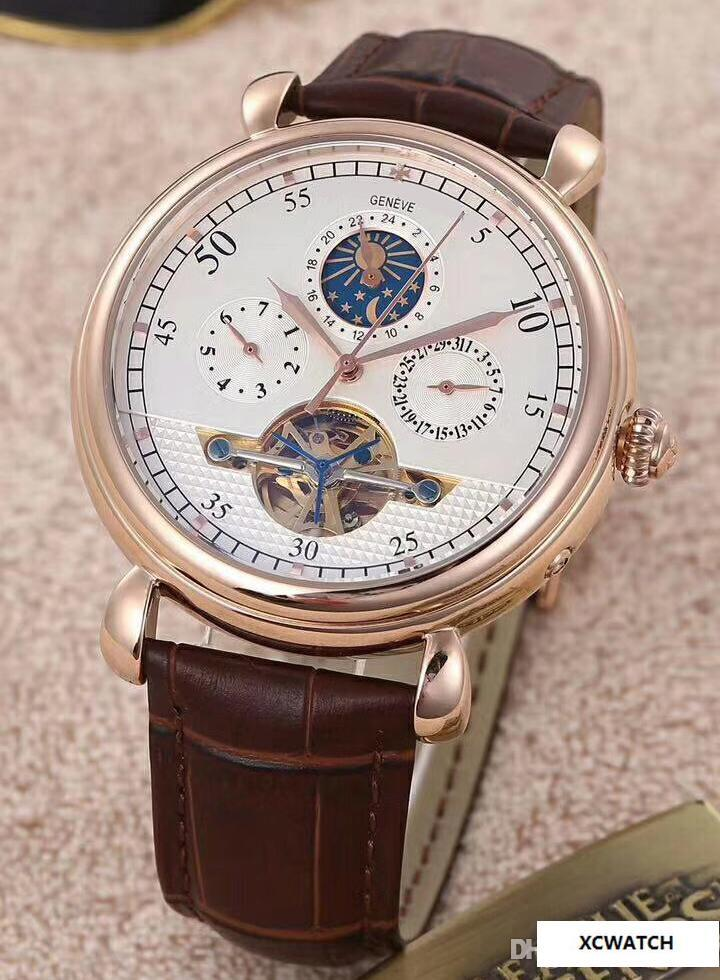 603b09bf7c4 AAA High Quality New Luxury Brand Men'S Automatic Watch Sky Moon Sport  Style Leather Big Band Men Watches Wristwatch For Gold 43175/000R Buy Online  Watches ...