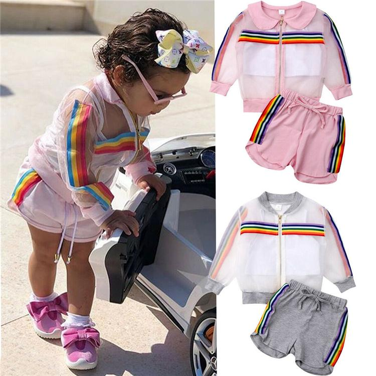 Newborn Kid baby girl kids clothes 3PCS Rainbow Long Sleeve Coat+Vest+Shorts Outfit 2 colors children clothing JY301