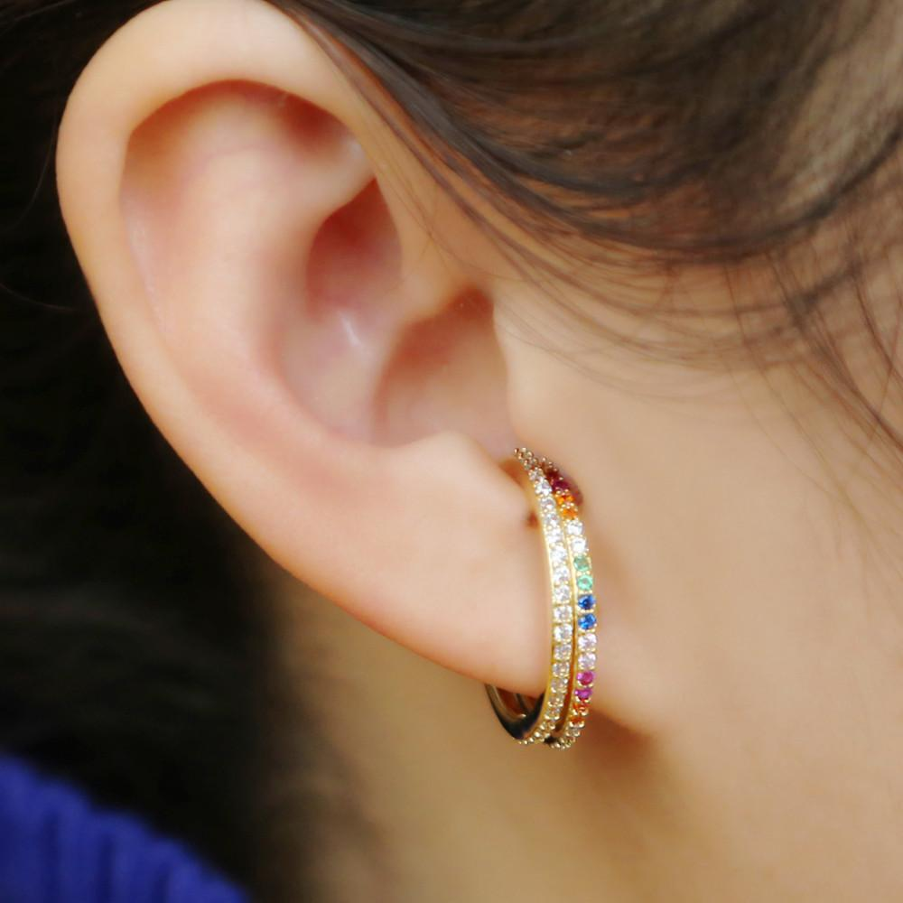 e4739ee2a250da 2019 2019 Fashion Gold Color Big Ear Cuff Clip On Earring For Women  Overspread Rainbow Cz Two Usage Delicate Jewelry For Party Gift From  Linzicheng, ...