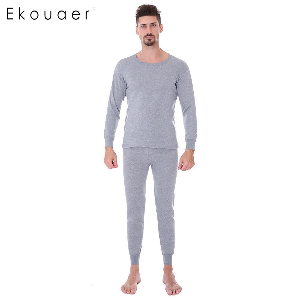 e4924a8bdcb8 Ekouaer Long Johns Set Men Thin Thermal Underwear Round Neck Ultra-Soft  Solid Men's Autumn Winter Pajamas Thermal Underwear Set