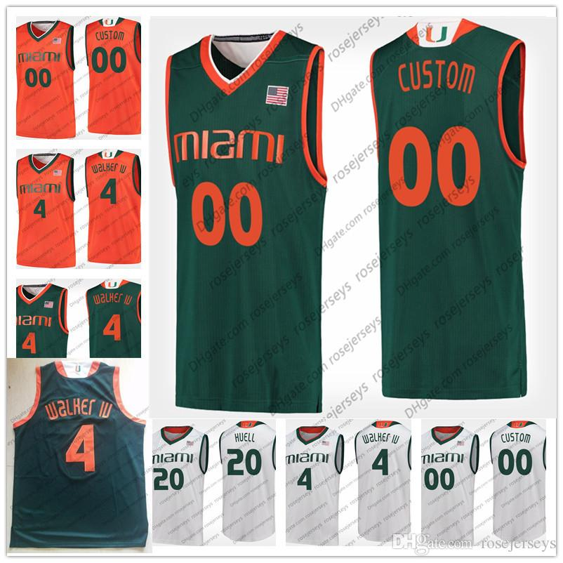 hot sales c064d 95349 Custom Miami Hurricanes College Basketball Stitched Any Name Number Green  Orange White 4 Walker IV 0 Chris Lykes Lonnie Jerseys S-4XL
