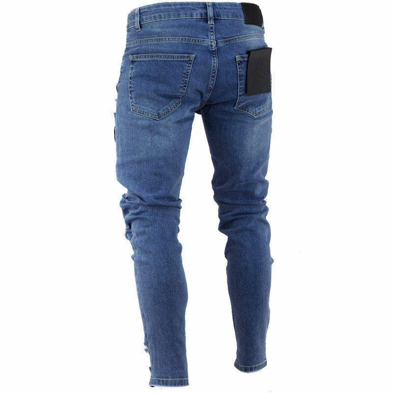 Şık Erkek Sıkı sıska Biker Slim Fit Jeans Taped Denim Pantolon Elastik Bel Harem Pantolon Erkekler Jogger S-4XL Destroyed Ripped