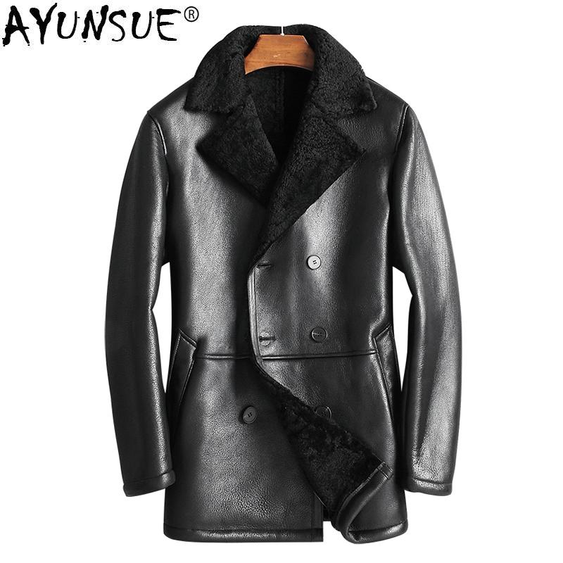 2019 Ayunsue 2018 Mens Shearling Jacket Autumn Winter Genuine