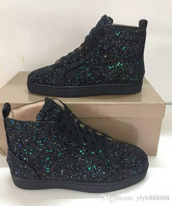 f9ffa4f4ae4 Luxury Designer Red Bottom Shoes for Men Women High Top Sequined ...