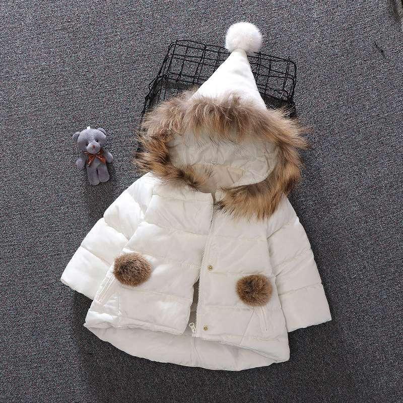 9b613ed49 Children Warm Winter Baby Girls Infants Ball Faux Fur Hooded Cotton ...