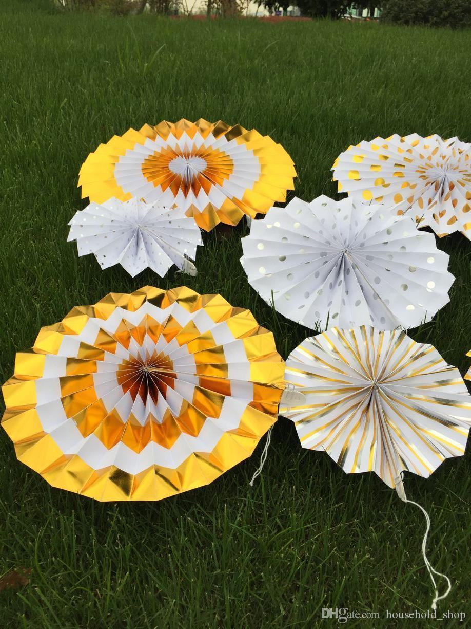 Hot Gold Paper Fans Household Decorations Suits Manual Origami