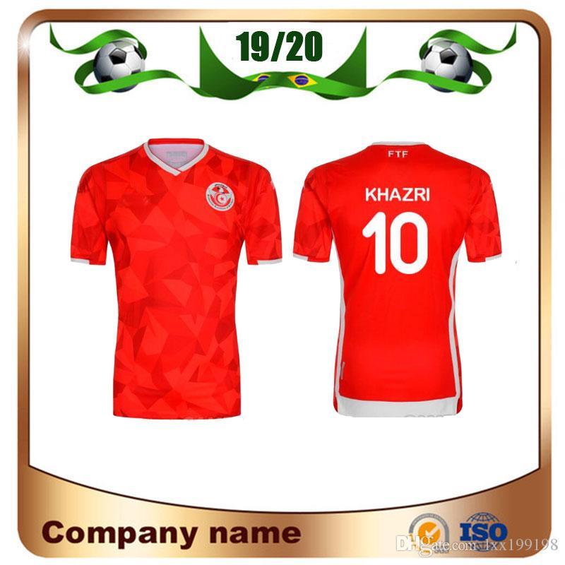 huge discount ac312 317b1 New 2019 Tunisia Soccer Jerseys 19/20 Home Red #7 MSAKNI #10 KHAZRI Soccer  Shirt KHALIFA SASSI MAALOUL Tunisia Football uniform