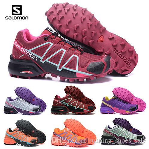 Cheap Women Speed Cross 4 IV CS dark red pink Hiking Outdoor Shoes Breathable woman Athletics Mesh Fencing Shoes sports sneaker 36-42