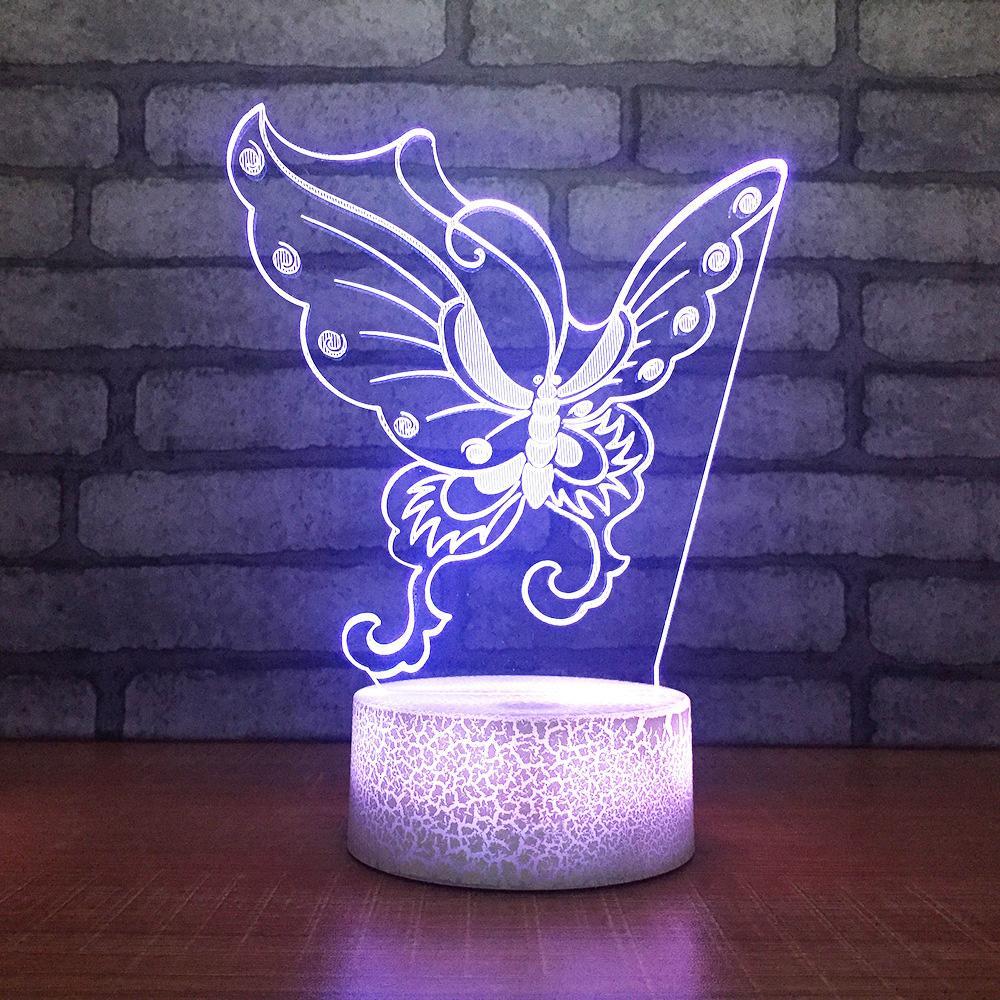 2019 Child Bedroom Sleep Change Night Light 3d Led Butterfly Shape