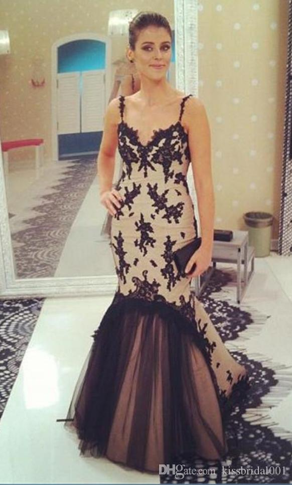 Vestidos de Fiesta Black Lace Prom Dresses Long Spaghetti Open-Back Applique Tulle Evening Gowns Cocktail Party Dress Mermaid Formal Gown