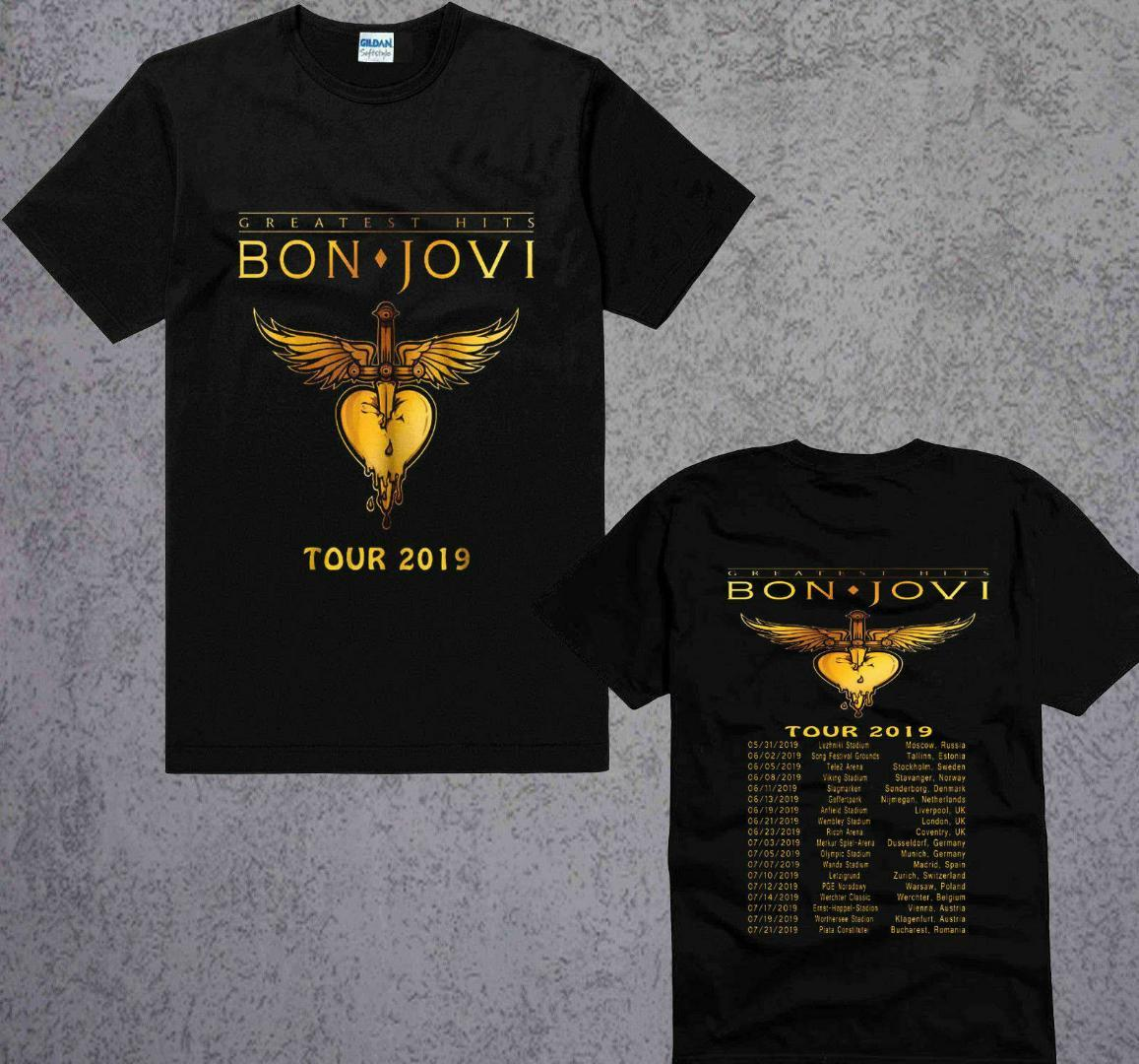 Nuevo Bon Jovi The Ressurection Music World Tour 2019 Camiseta negra S a 3XL Camiseta de algodón de manga corta de verano Moda