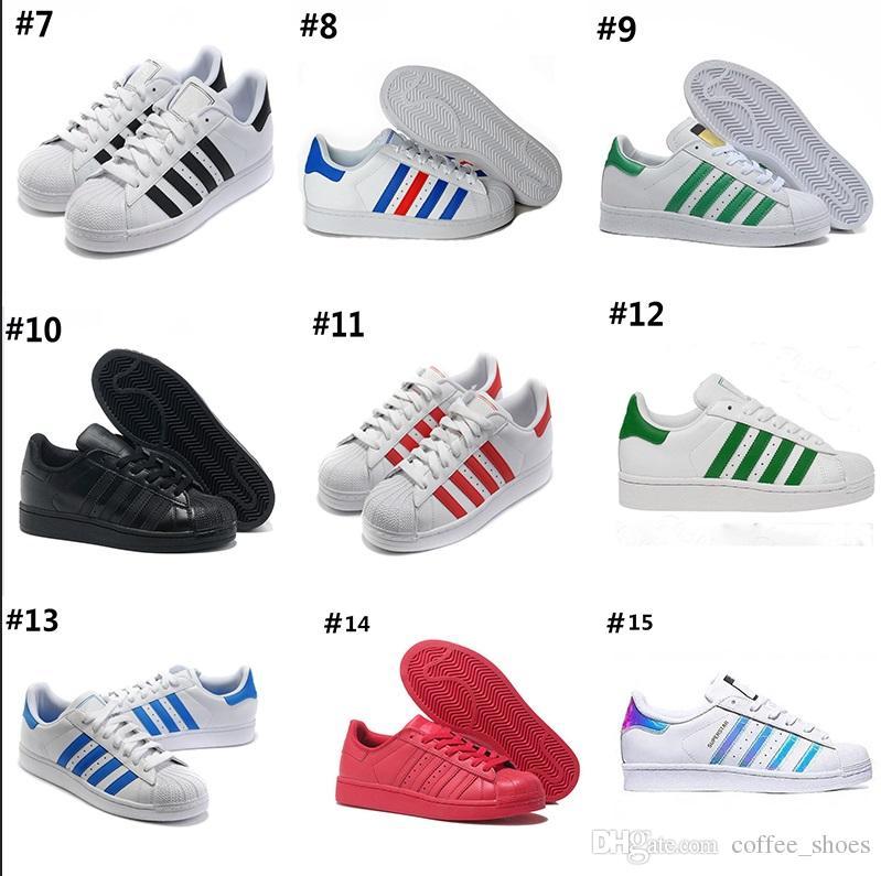 outlet store 17b98 bc977 Adidas Superstar 80s 2018 New Superstars Schuhe Schwarz Weiß Gold Hologramm  Junior Superstars 80er Jahre Stolz lässig Super Star Günstige Damen Herren  ...