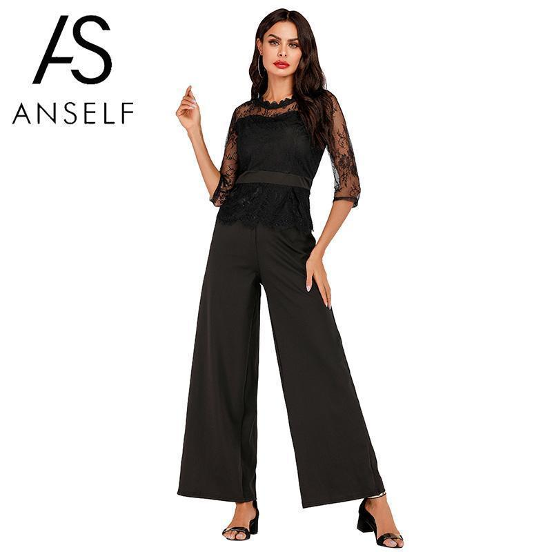Women's Clothing Fine Lace Jumpsuit Women Rompers 2019 Summer Elegant Ladies Office Work Wear Overalls For Women Wide Leg Playsuit Tracksuit Long Pant