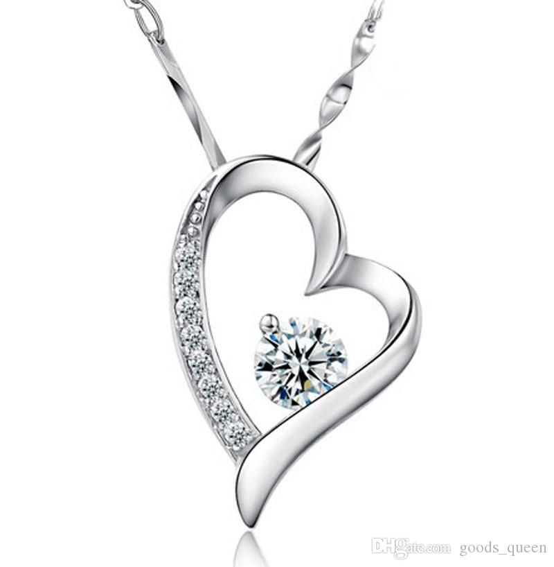 High quality Austrian crystal Diamonds Love Heart Pendant Statement Necklace Fashion Class Women Girls Lady Swarovski Elements Jewelry 001