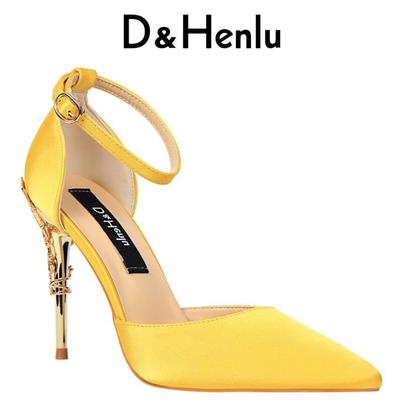 7a5aa30b11d  D Henlu  2018 New Summer Shoes Woman Women s D Orsay   Two-Piece High Heels  Silk Yellow Stilettos Carved Metal Heel Party Shoes Party Shoes Yellow ...