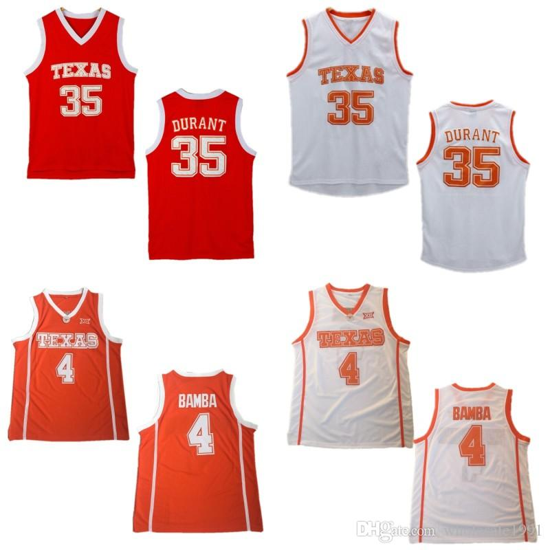 online store 18e4a c57b8 #35 Kevin Durant College Basketball Jersey Stitched #4 Mohamed Bamba  University Jerseys Mens Texas Longhorn Orange White Shirts