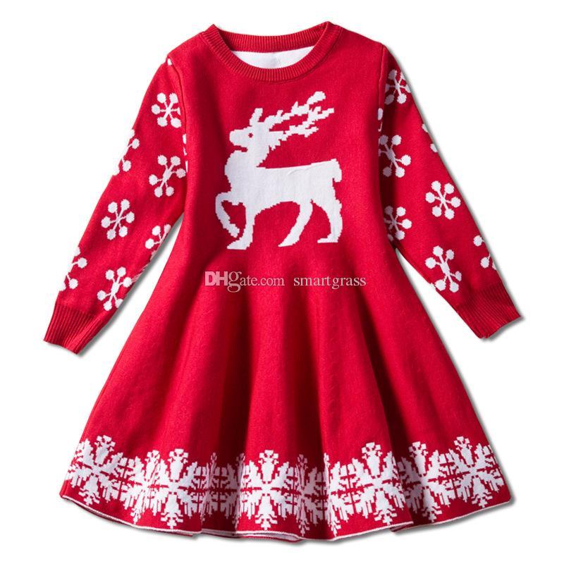 the best attitude 5a0e6 adaaf Mädchen weihnachten kleider stricken langarm mädchen rotes kleid rundhals  knielangen baby dress 18112801