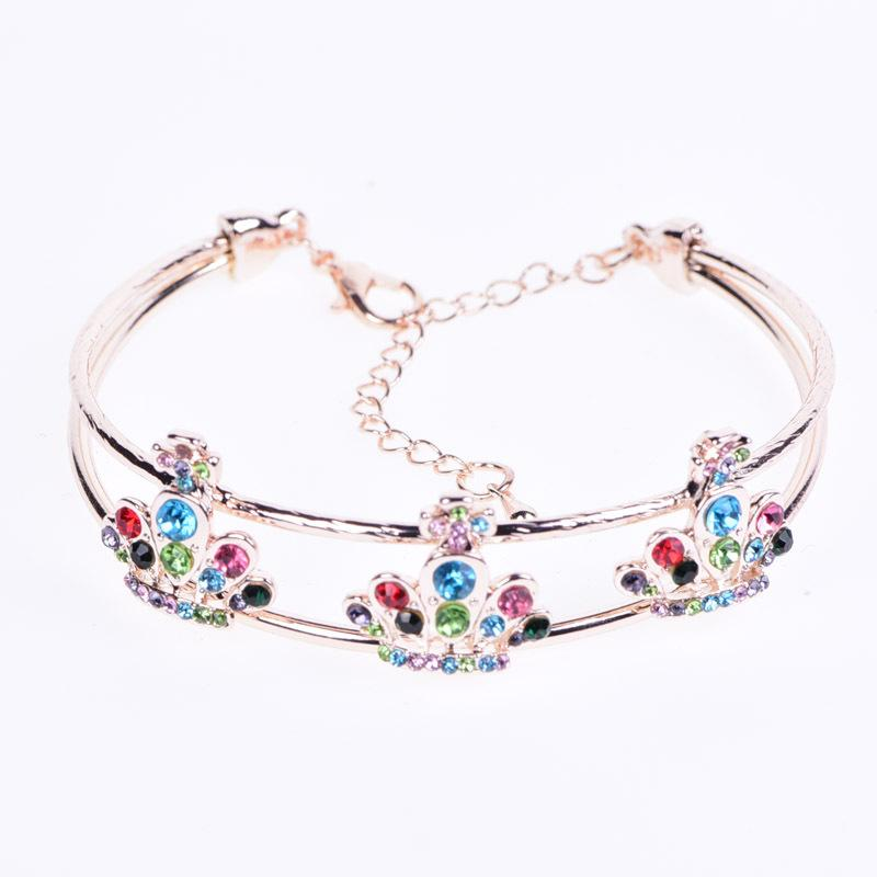New Pattern Rose Gold Ornaments Product An Crown Women S Style Minimalism Wear Bracelet Korean Edition Crystal Hand Ornament