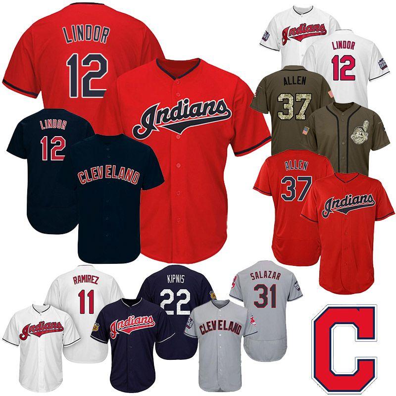 pretty nice 86f65 af883 Mens Cleveland Jerseys Indians 11 Jose Ramirez 12 Francisco 25 Jim Thome 31  Danny Salazar 37 Cody Allen Baseball Jerseys