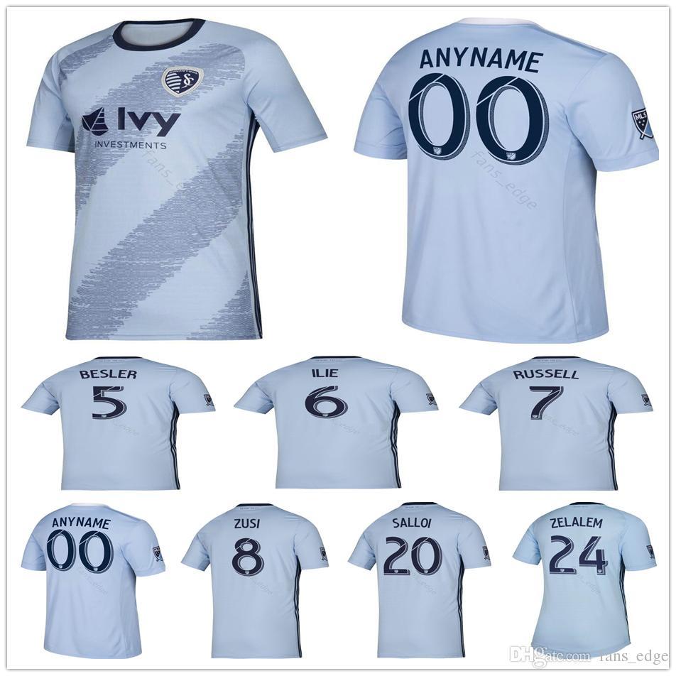 super popular 6734a 7c8d8 Soccer Jersey Sporting Kansas City camisetas de futbol 2019 2020 Sporting  KC ZUSI SALLOI RUSSELL ILIE Football Shirts Home Blue MLS 19/20