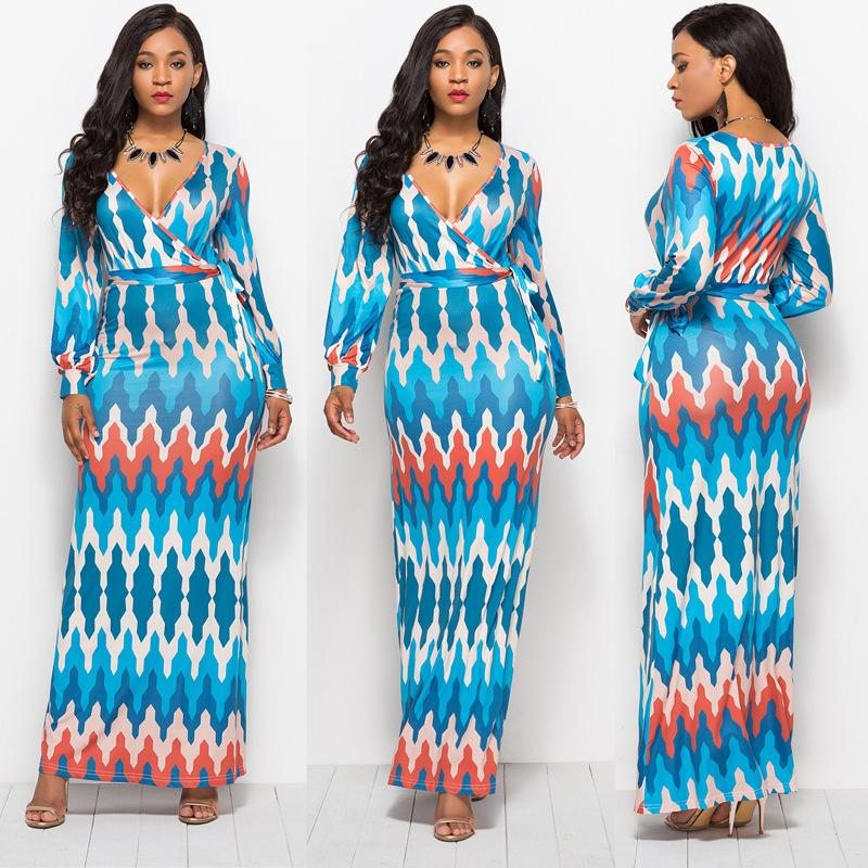 Lady Dresses Elegant Plus Size Women Dress Maxi Long Boho Chic Fashion  Female Summer S V Neck Print Sleeve Polyester Spandex